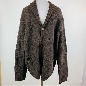 Wallin & Bros Brown Cable Shawl Collar Cardigan XL
